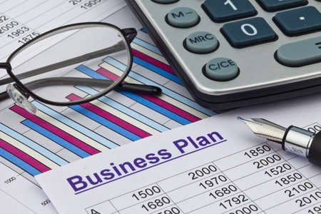 the business plan for a company or business establishment  planning a young entrepreneur  photo