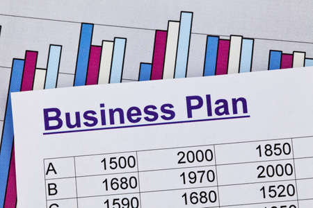 the business plan for a company or business establishment  planning a young entrepreneur  Stock Photo - 12761936