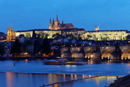 prague, charles bridge, prague castle prague castle and vltava river photo