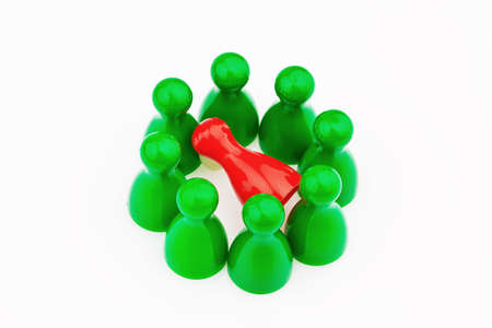 red and green characters  bullying, loneliness and outsider in the team Stock Photo - 13143227