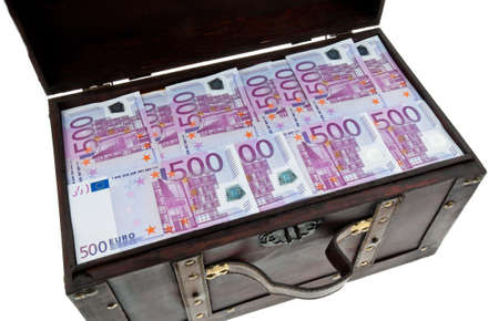 borrowing: a large chest with euro banknotes  financial crisis, crisis, debt