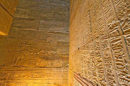 horus: África, Egipto, Edfu, Horus Tempel imposantes edificio de la época ptolemaica