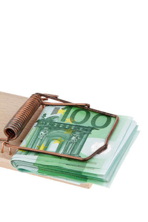 many euro bank notes in a mousetrap  photo