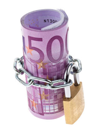 € 500 bill complete with a chain Stock Photo - 13143445