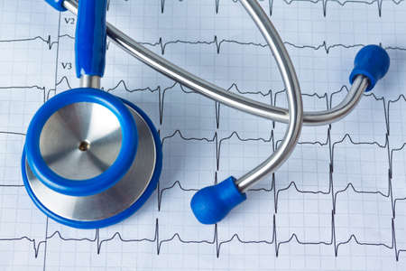 presure: blood pressure measurement and ecg curve  sickness due to high blood pressure  Stock Photo