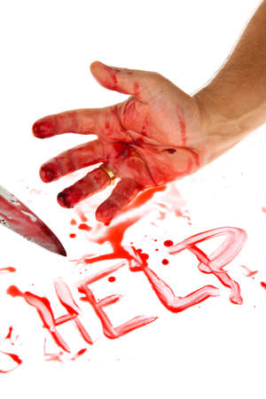 peoplesoft: a knife smeared with blood  a murder weapon  symbolfoto crime