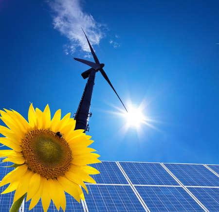 electricity tariff: wind power alternative energy through windmill with blue hmmel