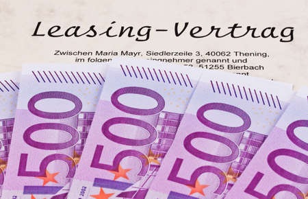 many euro bank notes and lease Stock Photo - 13241326