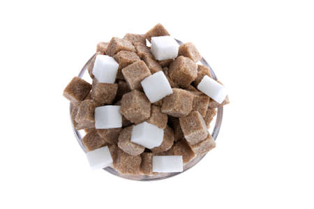granulated: white and brown sugar  unhealthy diet with carbohydrates Stock Photo