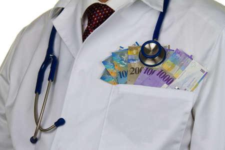 stethoskope: a doctor with swiss francs banknotes