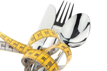 cutlery with tape  symbol for diet and weight loss Stock Photo - 13507407
