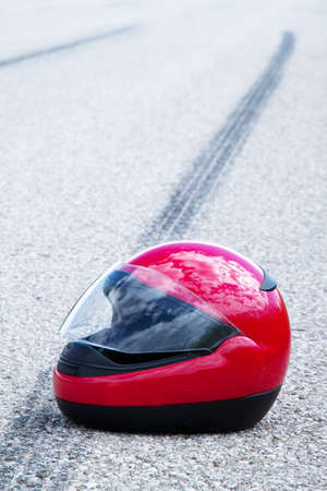 emergency braking: an accident with a motorcycle  traffic accidents with skid marks on road