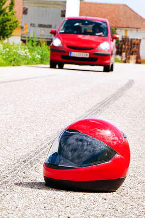 an accident with a motorcycle  traffic accidents with skid marks on road  Stock Photo - 13508408