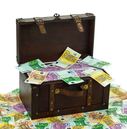 banconote euro: una cassa di grandi dimensioni con banconote in euro crisi finanziaria, crisi, debito Archivio Fotografico