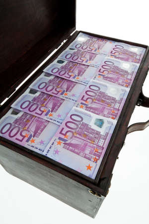 a large chest with euro banknotes  financial crisis, crisis, debt Stock Photo - 13509091