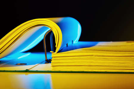 bureaucratic: a file folder with documents and documents  retention of contracts  Stock Photo
