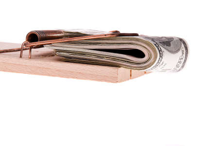 many dollar bills in a mousetrap Stock Photo - 13507437