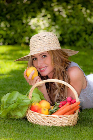 fruits and vegetables in the basket with his wife Stock Photo - 13599096