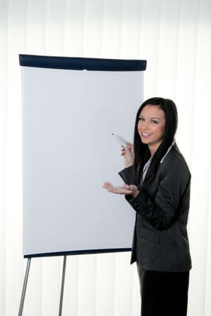 coach before empty flipchart on education and training photo