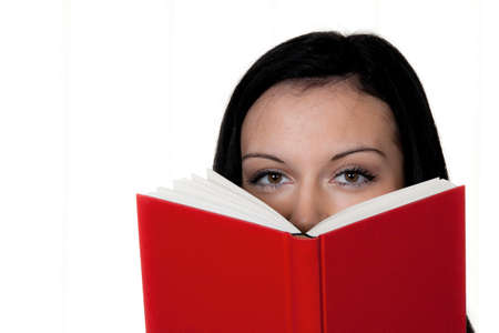 freetime activity: woman with book reading Stock Photo