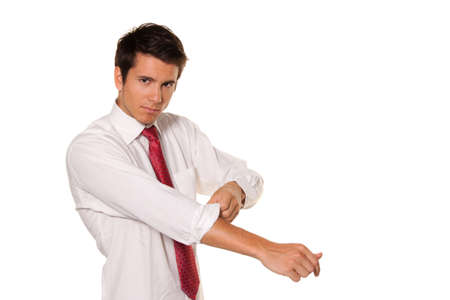 industrious: successful, strong and powerful tackle  roll up his sleeves  men s shirt  Stock Photo