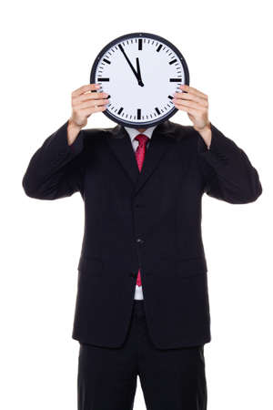 insolvency: a manager in the head before clock with stress  working in the office