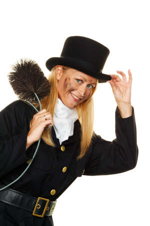 sweeps: woman as a chimney sweep  good luck on new year s eve and new year  Stock Photo