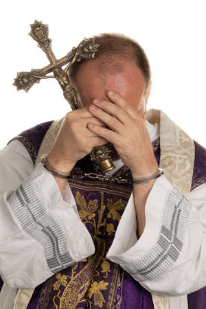icon image abuse in the church  priest with handcuffs Stock Photo - 13622236