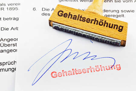 christmas profits: a stamp made of wood lying on a document  german inscription  raise