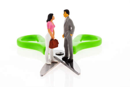 income scissors  different income between husband and wife Stock Photo - 13776585