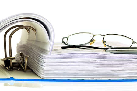 tax law: a file folder with documents and documents  retention of contracts  Stock Photo