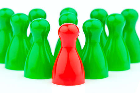 red and green characters  manager and leader of the team  Stock Photo - 13776698