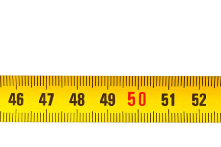 a yellow tape measure isolated on a white background