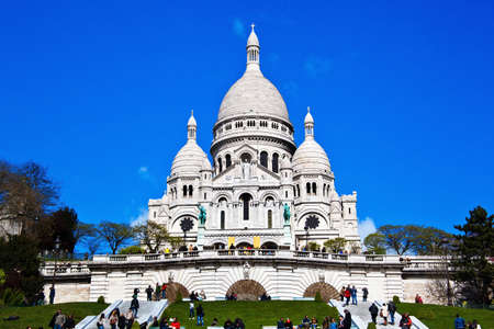 montmartre: the church of sacre coeur in montmartre in paris  one of the landmarks of the city Editorial