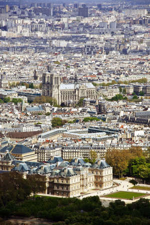 the church of notre dame in paris and the palais luxembourg, france  seen from the montparnasse tower photo