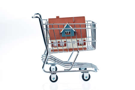 a model of a house in a shopping cart  photo icon for house purchase  photo