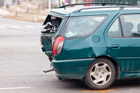 a sheet metal damage after a car accident  damage for insurance photo