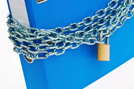a filing with chain and padlock closed. privacy and data security. Stock Photo - 14360322