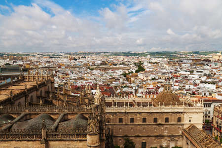 cathedrale: cityscape and skyline of seville in andalusia, spain. view from the giralda. Stock Photo