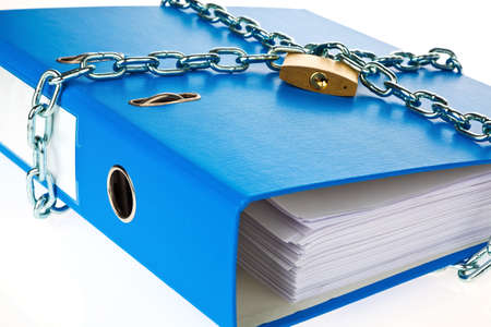 a filing with chain and padlock closed. privacy and data security. Stock Photo - 14360324