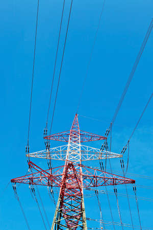 curren: a high voltage power line towers. production and transport of energy.
