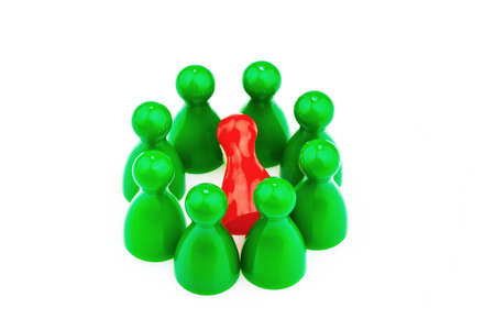 outsider: red and green characters. bullying, loneliness and outsider in the team. Stock Photo
