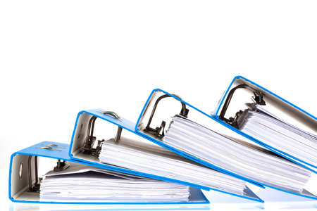 law office: binder filled with documents and documents. retention of contracts. Stock Photo