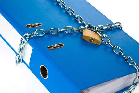 a filing with chain and padlock closed. privacy and data security. photo