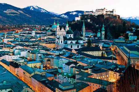 state of mood: a city view of the city of salzburg in austria .. city ??and fortress high salzburg Stock Photo