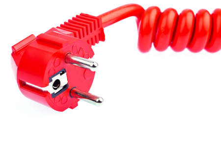 luminous flux: a red power cable with a connector located on a white background