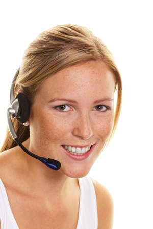 telephonist: woman with telephone headset in customer service  order acceptance and hotline