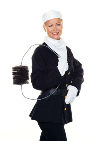 chimney sweep: woman as a chimney sweep  good luck on new year s eve and new year  Stock Photo