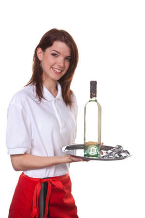 peoplesoft: young woman as a waitress serving drinks on a tray