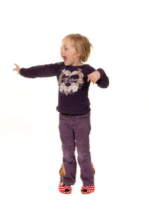 angry blonde: children with large shoes  symbol for growth and future  Stock Photo